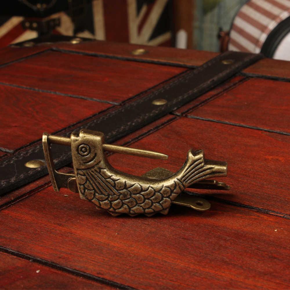 Cadenas en laiton rétro Vintage chinois Antique Style ancien boîte à bijoux motif poisson serrure et clé pour ornements de décoration intérieure