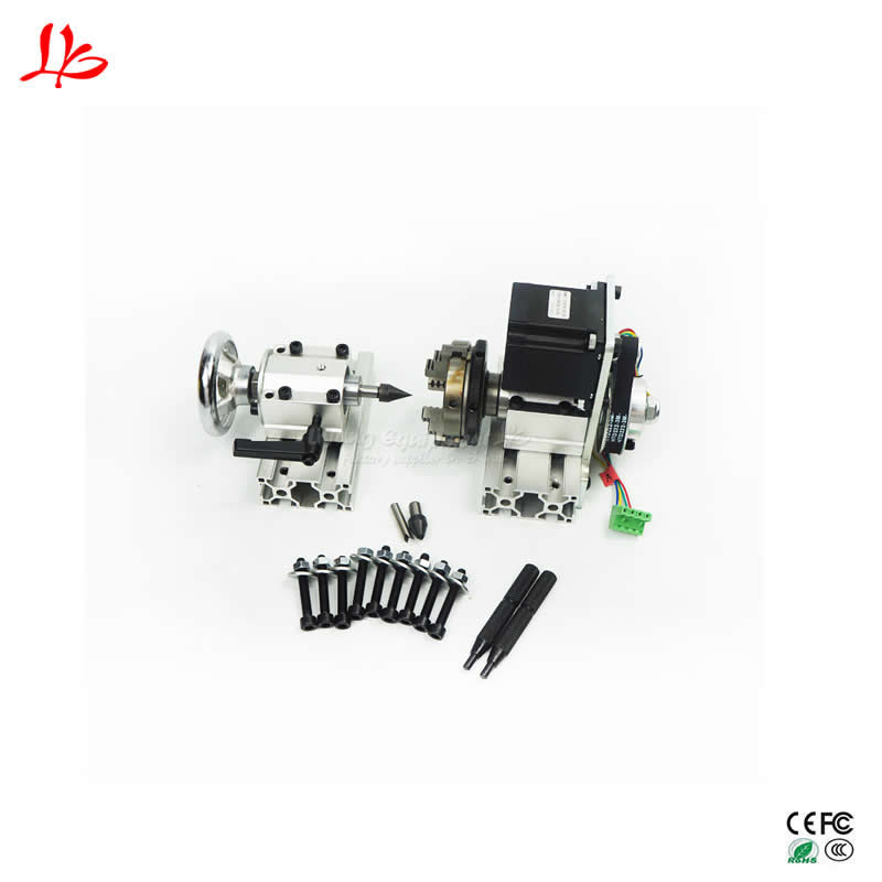 4th Axis Dividing Head Rotation Axis /A Axis Kit For Mini CNC Center Height 61.5mm