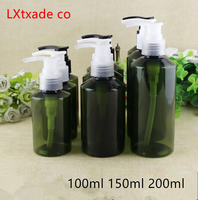 Free Shipping 100ml 150ml 200ml Empty Green Plastic Pump Packaging Bottle Originales Refillable Empty Cosmetic Containers 30 Pcs