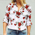 2017 Spring New Arrivals Women Blouse Long Sleeve Double Pockets Floral Print Loose Casual Shirts Tops Female Clothing Blusas