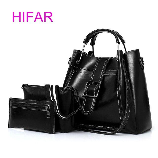 18b368ae33e2 Hobos Women Bags Set 3 Pcs Leather Handbags Casual Shopping Bags Ladies  Brand Designer Shoulder Bags Handbag+Messenger Bag+Purse