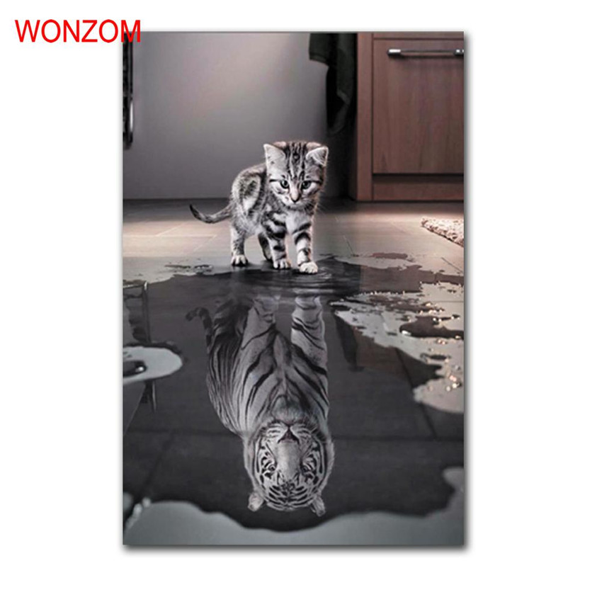 Cat Picture Water Reflection Painting Wall Christmas