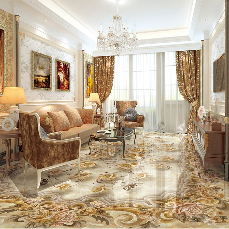 Custom Mural Wallpaper Living Room 3D Floor Tiles European Style Flower Retro Sticker PVC Waterproof Luxury Home Decor Wallpaper
