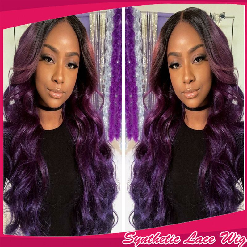 цены на New Cosplay 2 Tones 1/purple body wavy hair heat resistant glueless synthetic lace front wig quality cheap wigs for black women