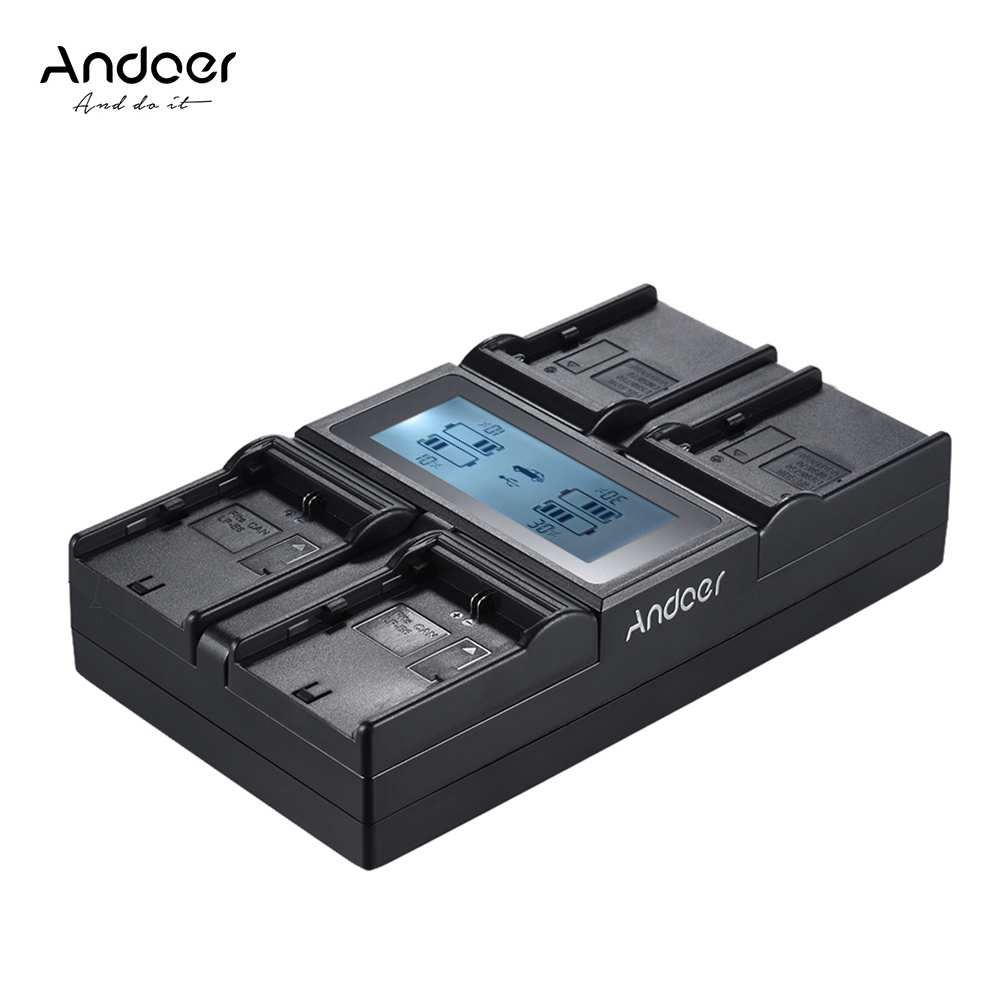 Andoer LP-E6 LP-E6N NP-F970 4-Channel Digital Camera Battery Charger LCD For Canon 6D 7DII 80D 5D Serie Sony NP-F550 F750 Etc