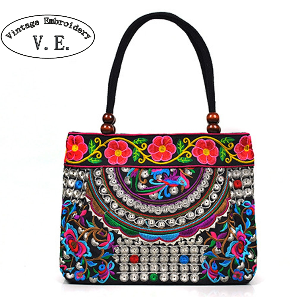 Vintage Embroidery Women Handbag National Ethnic Canvas Totes Wood Beads Double Layered Travel Shoulder Bag Sac Femme Bolsos 2016 summer national ethnic style embroidery bohemia design tassel beads lady s handbag meessenger bohemian shoulder bag