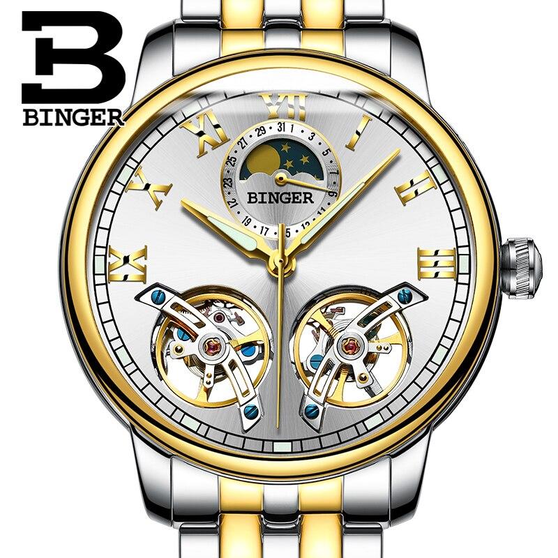 Double tourbillon BINGER Brand Luxury Steel Strap Automatic Mechanical Analog Men Wrist Watch Fashion Business Wristwatch  2017