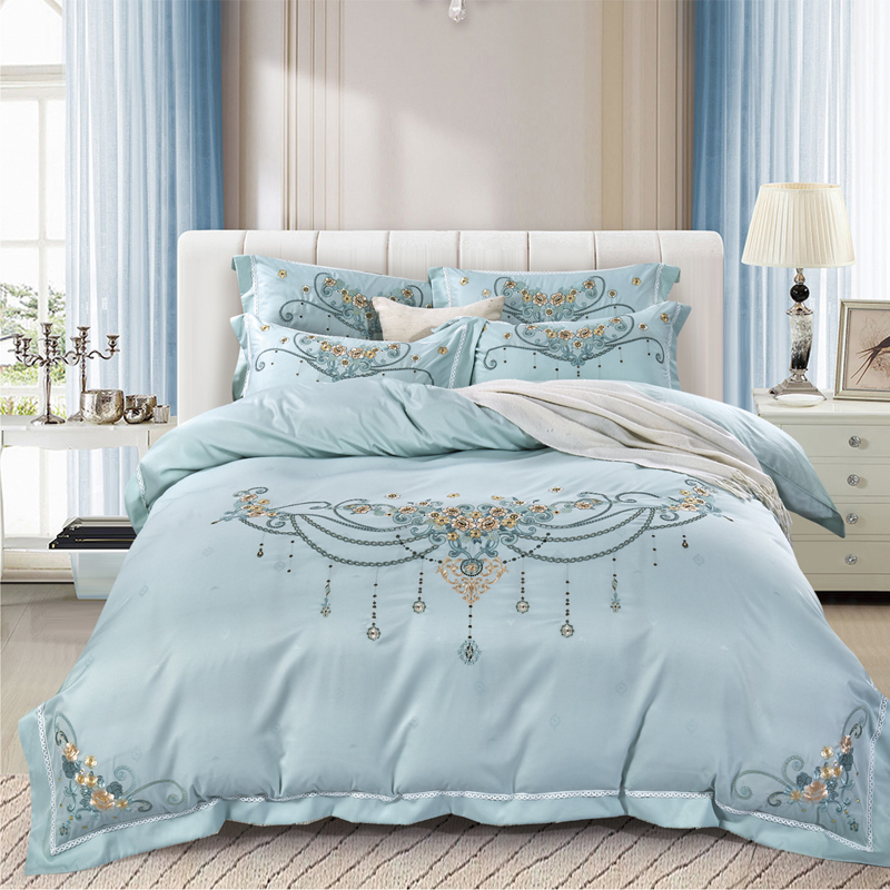 New Product Jacquard 4 Pcs Bedding Set cotton satin Embroidery Bedclothes blue pink red  Bed Linens Duvet Cover Set Bed SheetNew Product Jacquard 4 Pcs Bedding Set cotton satin Embroidery Bedclothes blue pink red  Bed Linens Duvet Cover Set Bed Sheet