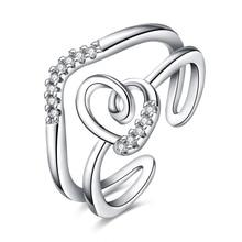 JEXXI Trendy Female CZ Diamond Shiny Crystal Wedding Rings White/Rose Gold Plated Cubic Zirconia Finger Ring Wholesale Price