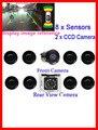 8 sensor de aparcamiento assisstance front + back del detector del coche del sensor del estacionamiento del monitor automático de vídeo frontal cámara trasera punto ciego aparcamiento
