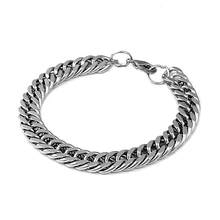 Heavy Punk Rock Titanium Stainless Steel Men Fashion Bracelet Jewelry Bangle(China)