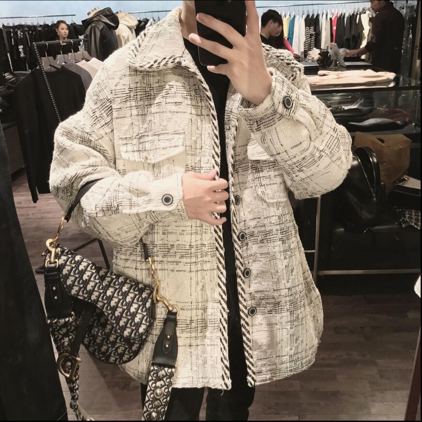 Novo inverno solto estilo coreano japonês simples padrão de impressão jaqueta juventude dos homens bonito lapela jaqueta hairstylist casaco - 3