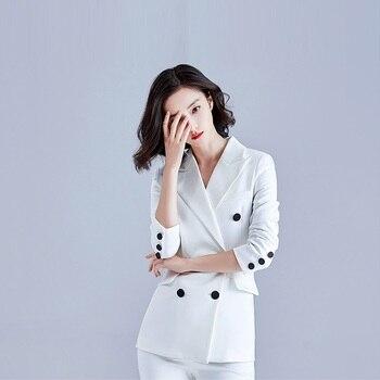 White Color Business Suits,Women Civility Formal Pant Suits,Office Lady Brisk Suit Set,Korean Version Formal Clothes,F12