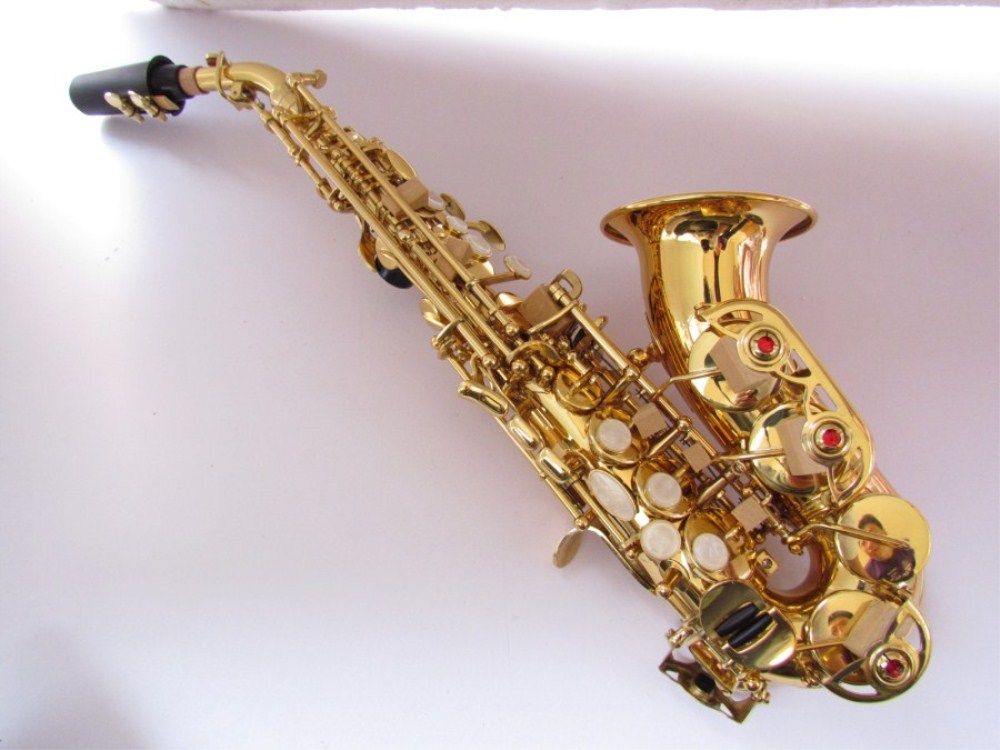 2018 Soprano saxophone France 54 B flat sax musical instrument Child Adult Soprano saxophone Electrophoresis gold Professional black salmer 54 tenor sax b flat saxophone top musical instrument saxe wear resistant black nickel gold professional sax