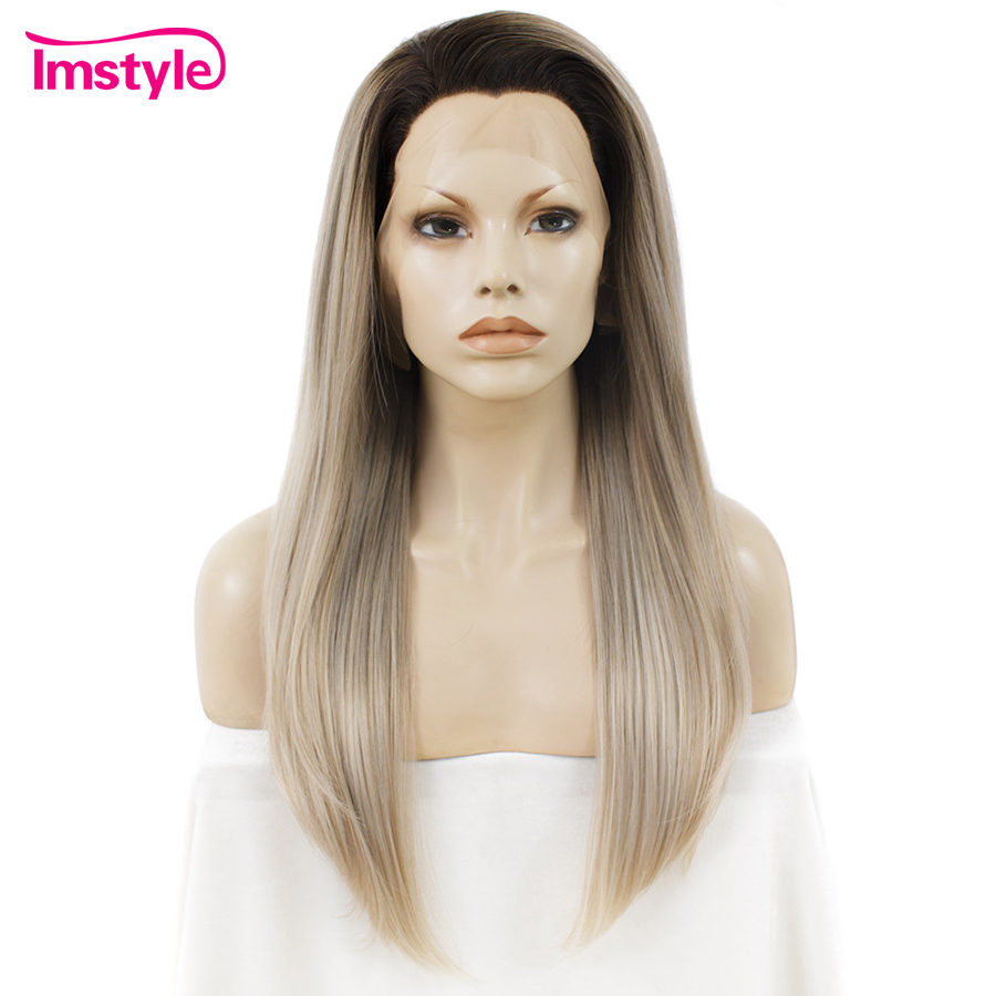 Imstyle Ombre Ash Blonde Wigs Straight Synthetic Lace Front Wigs For Women Heat Resistant Fiber Lace Wig Dark Root Natural Hair