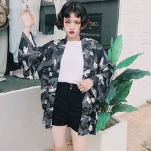 Japanese style 2019 Vintage Casual Summer Printed Chiffon Sunscreen Women Clothing Outerwear Blouse Harajuku Kimono Cardigan