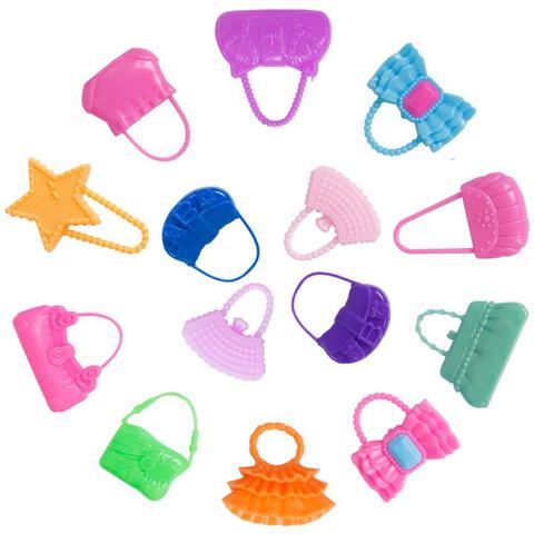 42 Item/Set Doll Accessories = 10Pcs Shoes + 8 Necklace 4 Glasses 2 Crowns 2 Handbags + 8 Pcs Doll Dress Clothes for Barbie Doll Multan
