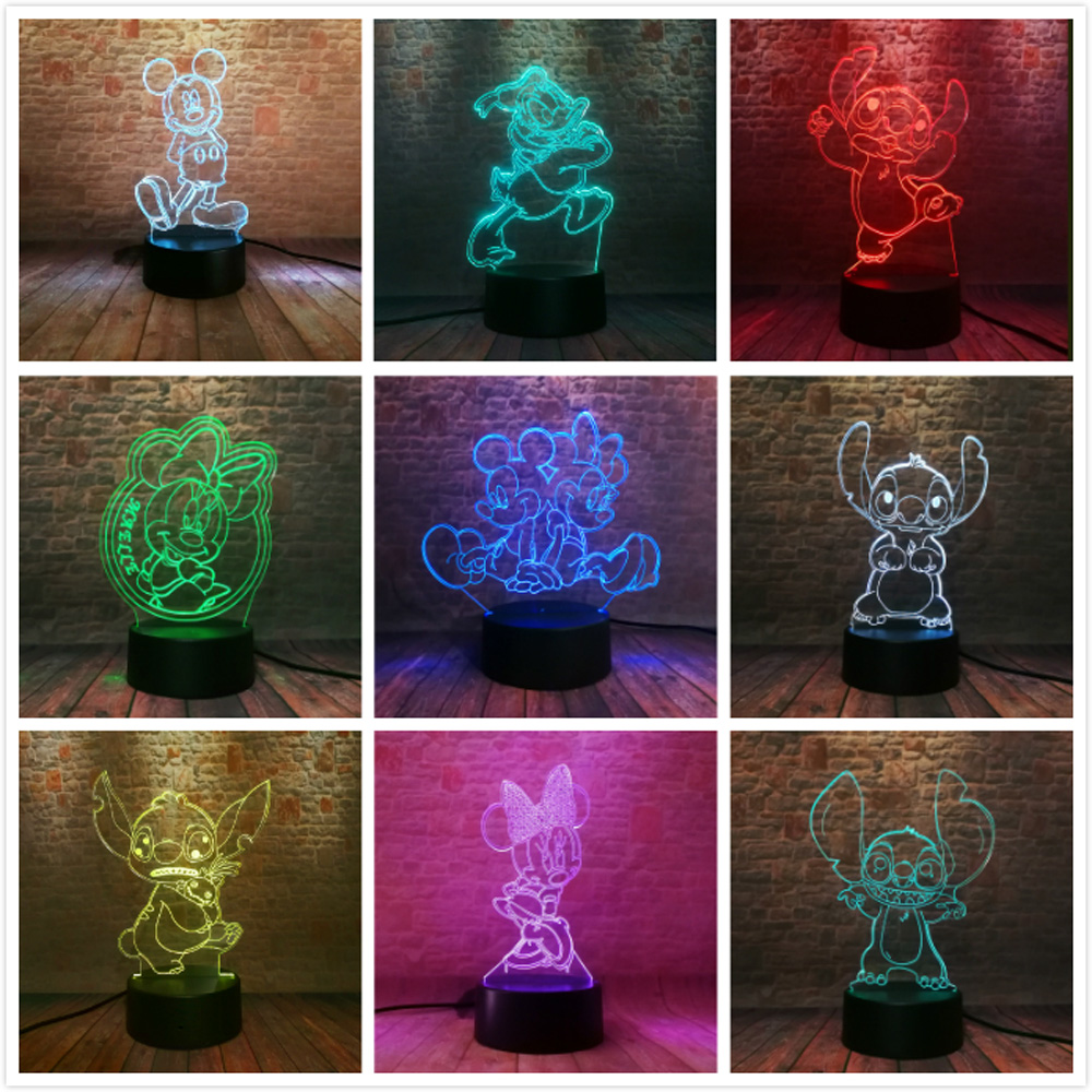 Amroe Hot 2019 Stitch Mickey Minnie Rare Peter Pan Fairy Tinker Bell Princess Snowflake 7 Color Change Night Lamp Child Gifts