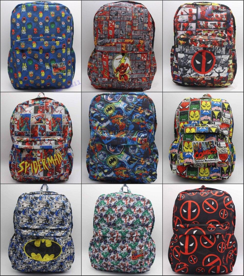 DC Comics Marvel Comics Deadpool Iron Man The Flash Superman Batman Backpack student book bag canvas Shoulder Bag 18 style marvel platinum the definitive deadpool