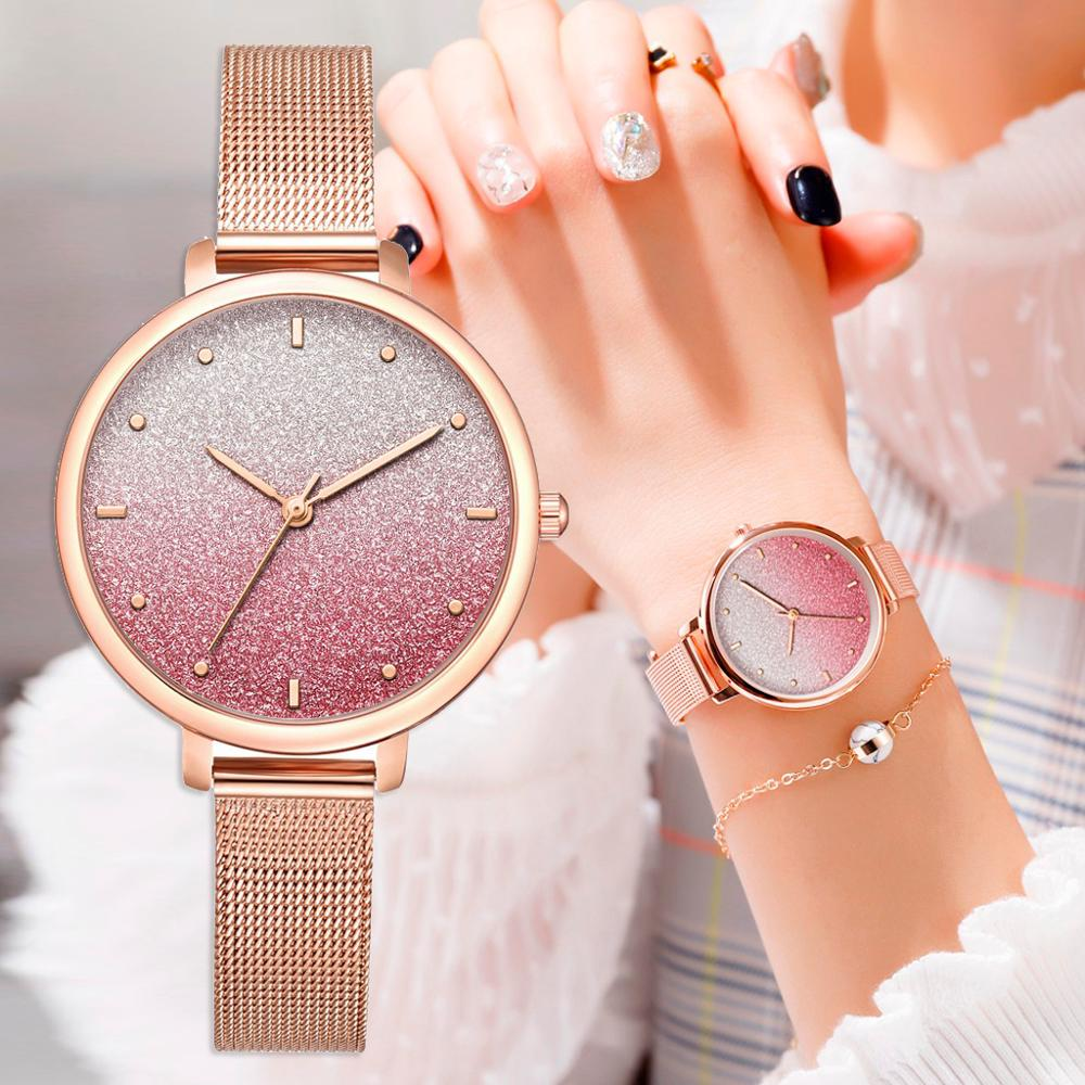 Bracelet Watches Quartz-Clock Rose Pink Sports Casual Women Ladies for Starry Metal-Belt