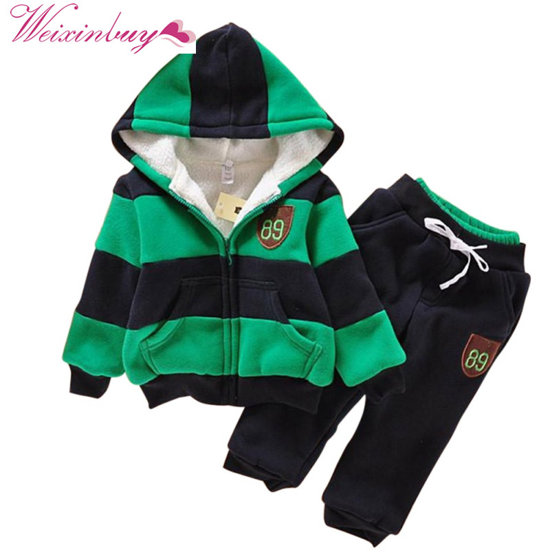 2017 New Jacket Sweater Coat & Pants Thicken Kids Clothes Sets Boys Girls Children Hoodies Winter Wool Sherpa Baby Sports Suit 2016 new suit boys clothes brand winter sweater for kids 3 13 year with m word three piece set boys vest pants coat a 26145