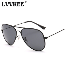 LVVKEE 2017 Fashion Pilot Sunglasses Women/men Polarized Classic Aviation Sun glasses 60mm Black lens Summer style Eyewear uv400