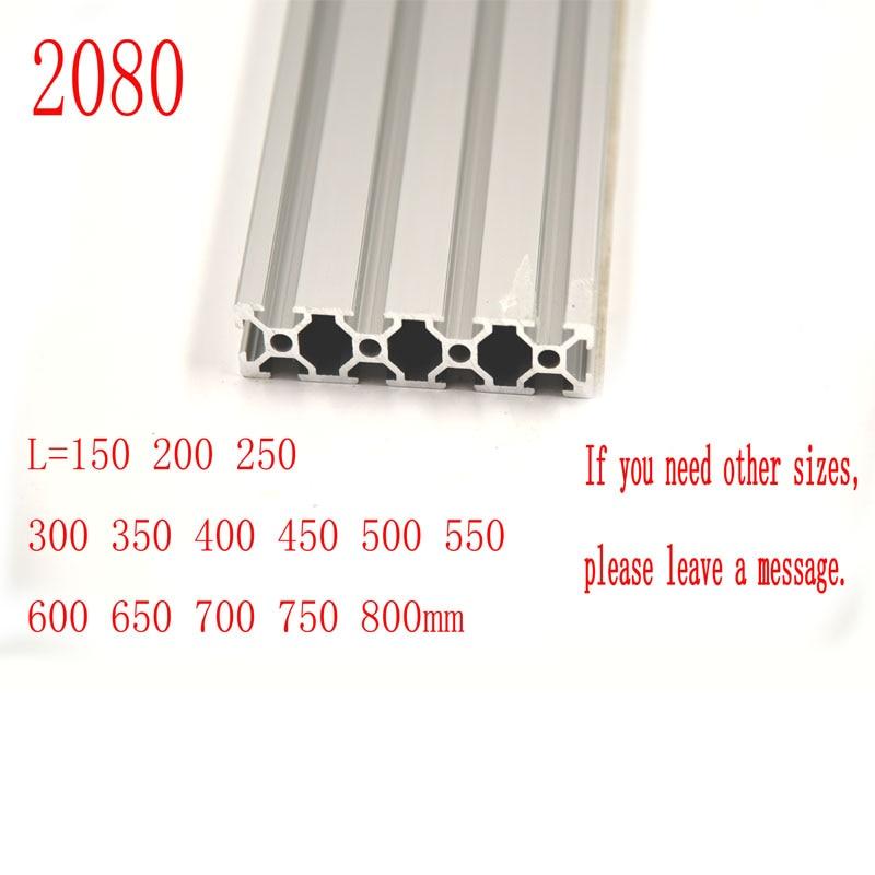 3D Printer Parts 2080 Aluminum Profile European Standard Anodized Linear Rail Aluminum Profile 2080 Extrusion 2080 For Cnc