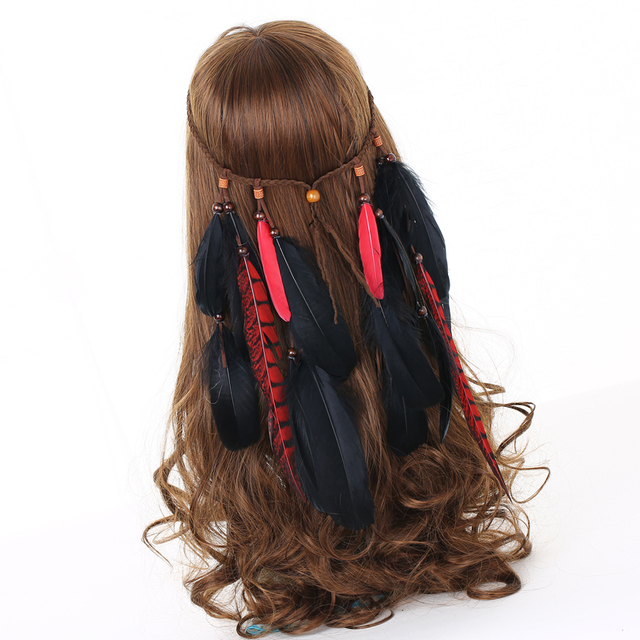 Tribal Black Red Pheasant Feather Headband