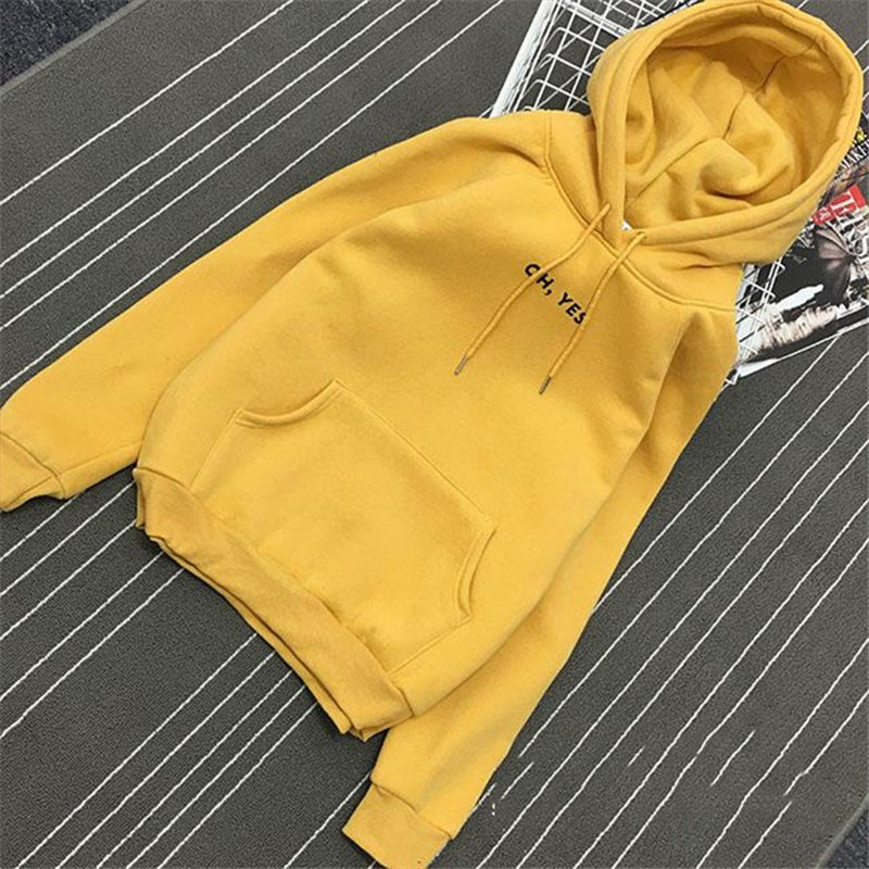 Casual Hoodies Sweatshirt Autumn Winter Women Oh Yes Letter Print Pullover Thick Loose Sweatshirt Coat