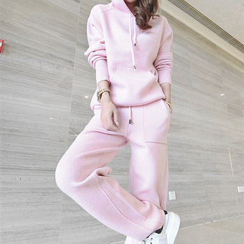 Womens suit long-sleeved knit sweater fashion two-piece female hooded casual top and pants temperament elegant