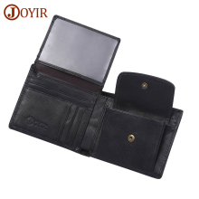 JOYIR Genuine Leather Men Wallets Vintage Solid Wallet Card Holder Coin Purse Real Cowhide Male Short