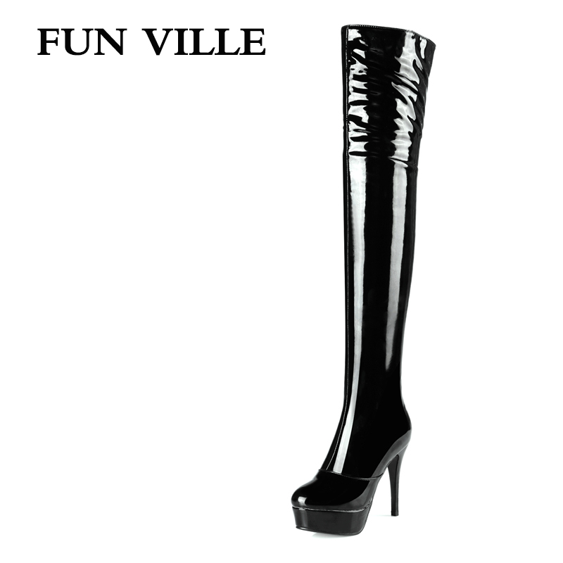 FUN VILLE 2017 New Fashion Sexy Women Over the knee Boots High Heel patent leather + pu Pointed toe Lady botas shoes size 34-43 citizen часы citizen aw1031 31a коллекция eco drive