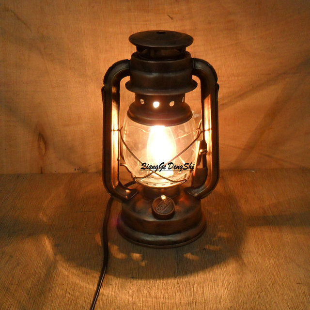 Chinese Vintage Style Bedside Table Lamp Fashion Antique Lantern Kerosene Lamp  Table Lamp E27 Bar Decoration