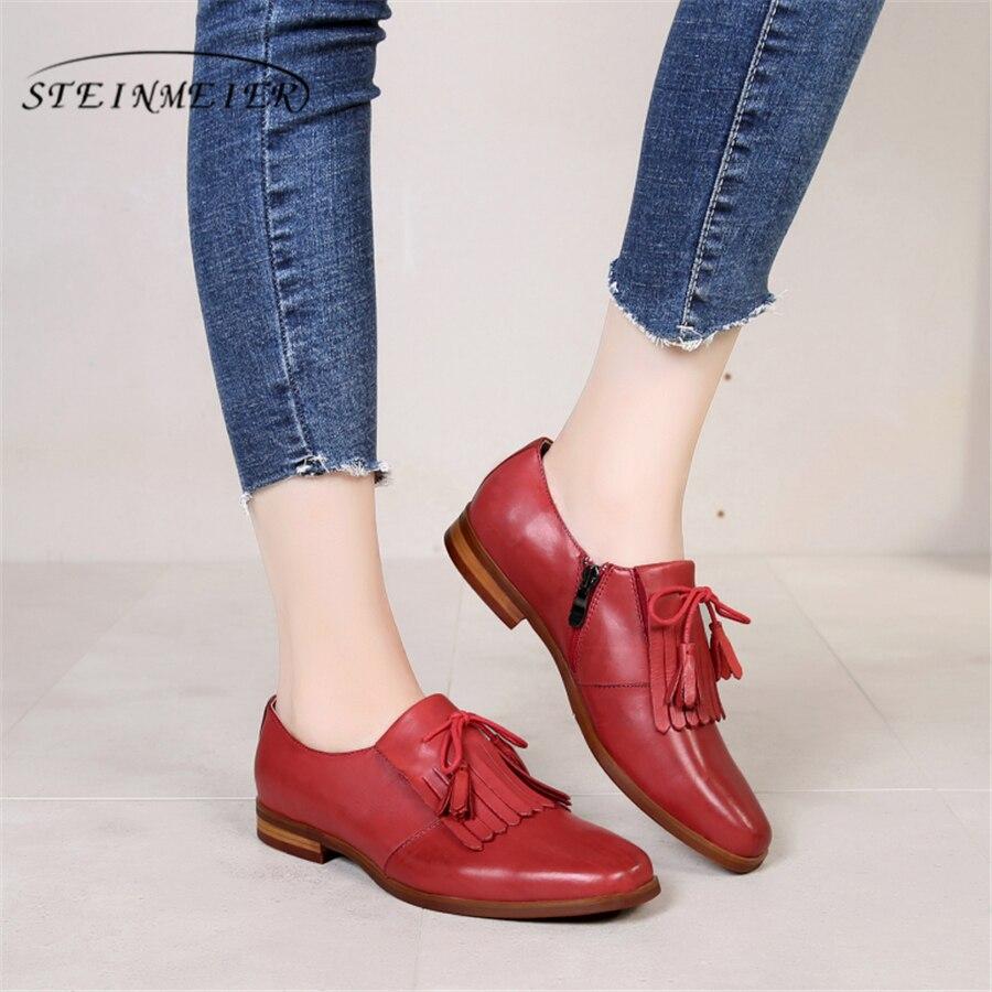 Cuero genuino mujer tamaño 9 diseñador yinzo vintage zapatos planos punta cuadrada hecho a mano marrón beige rojo oxford zapatos para mujer 2018-in Zapatos planos de mujer from zapatos    1