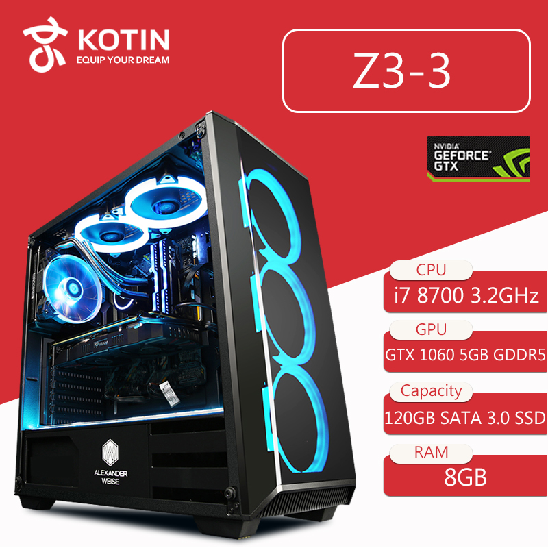 Getworth Z3 Intel i7 8700 Gaming PC Desktop Computer B360 GTX1060 8GB DDR4 2666 RAM LGA1151 8 Gen Processor Gaming for PUBG image