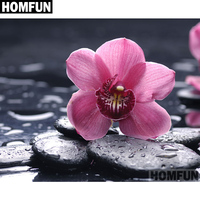 "HOMFUN Full Square/Round Drill 5D DIY Diamond Painting ""Orchid Stone"" Embroidery Cross Stitch 5D Home Decor Gift A06709"