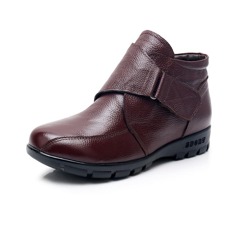 Plat Neige Bottines Nouveau De Noir slip Hiver Casual Bottes Vache Mode Non marron En Femmes La Cuir 43 2018 Plus Peau Chaussures Taille Ptvwqdq