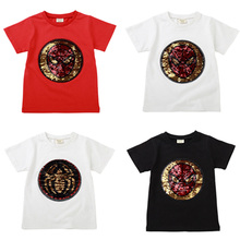 New Cotton Change Face Color Magic Discoloration Sprideman Boy T-shirts Sequin Paillettes T Shirt Boys Tee for Birthday Gift