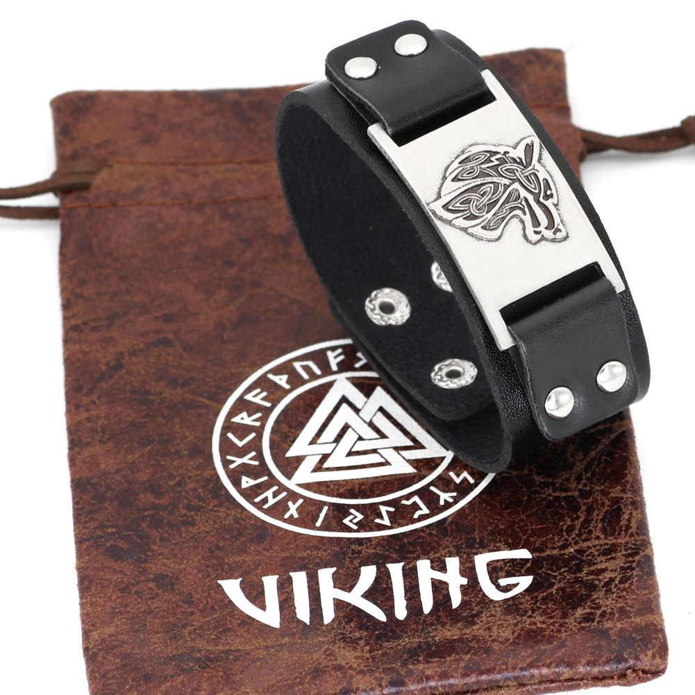 Mannen viking wolf hoofd lederen amulet armband jewlery-fit 20 CM-25 CM