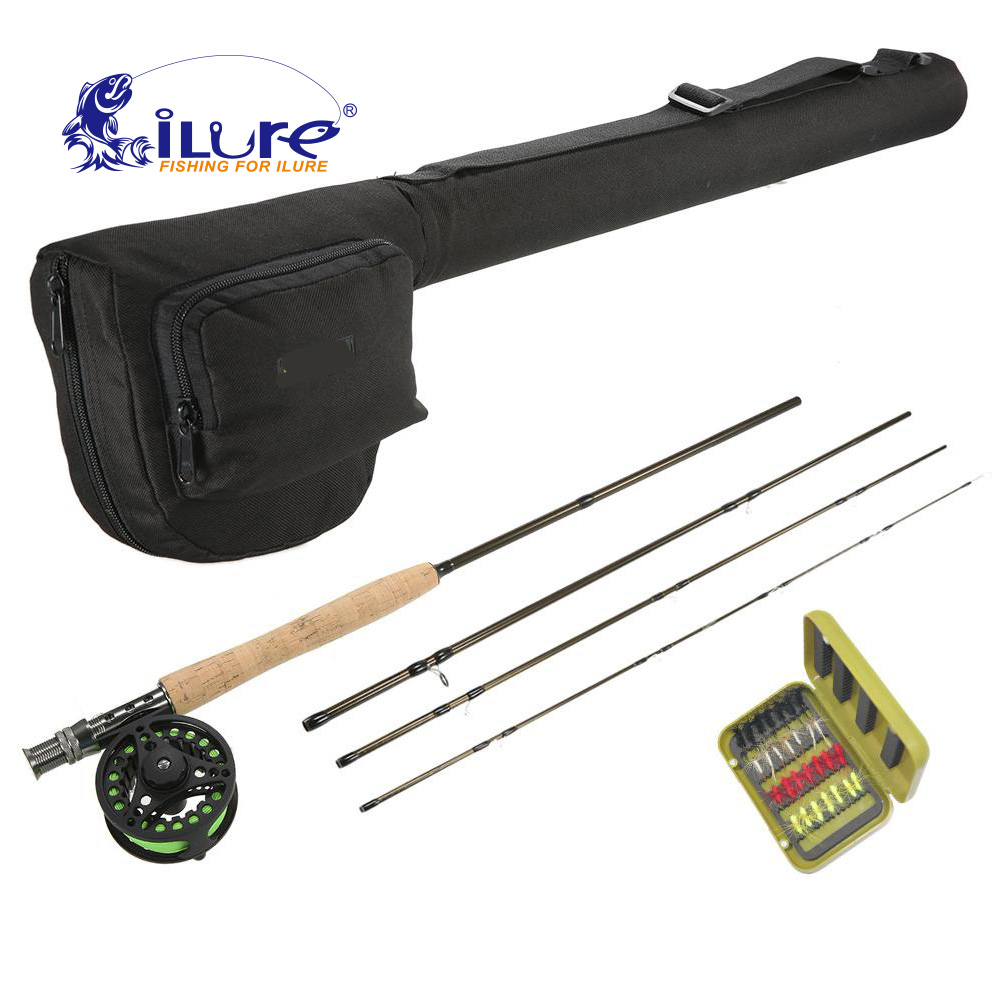 iLure Carbon Fly fishing rod with metal fly reel Combo 4 section Fly fishing rod and fishing line Locks combo kit Pesca цена и фото