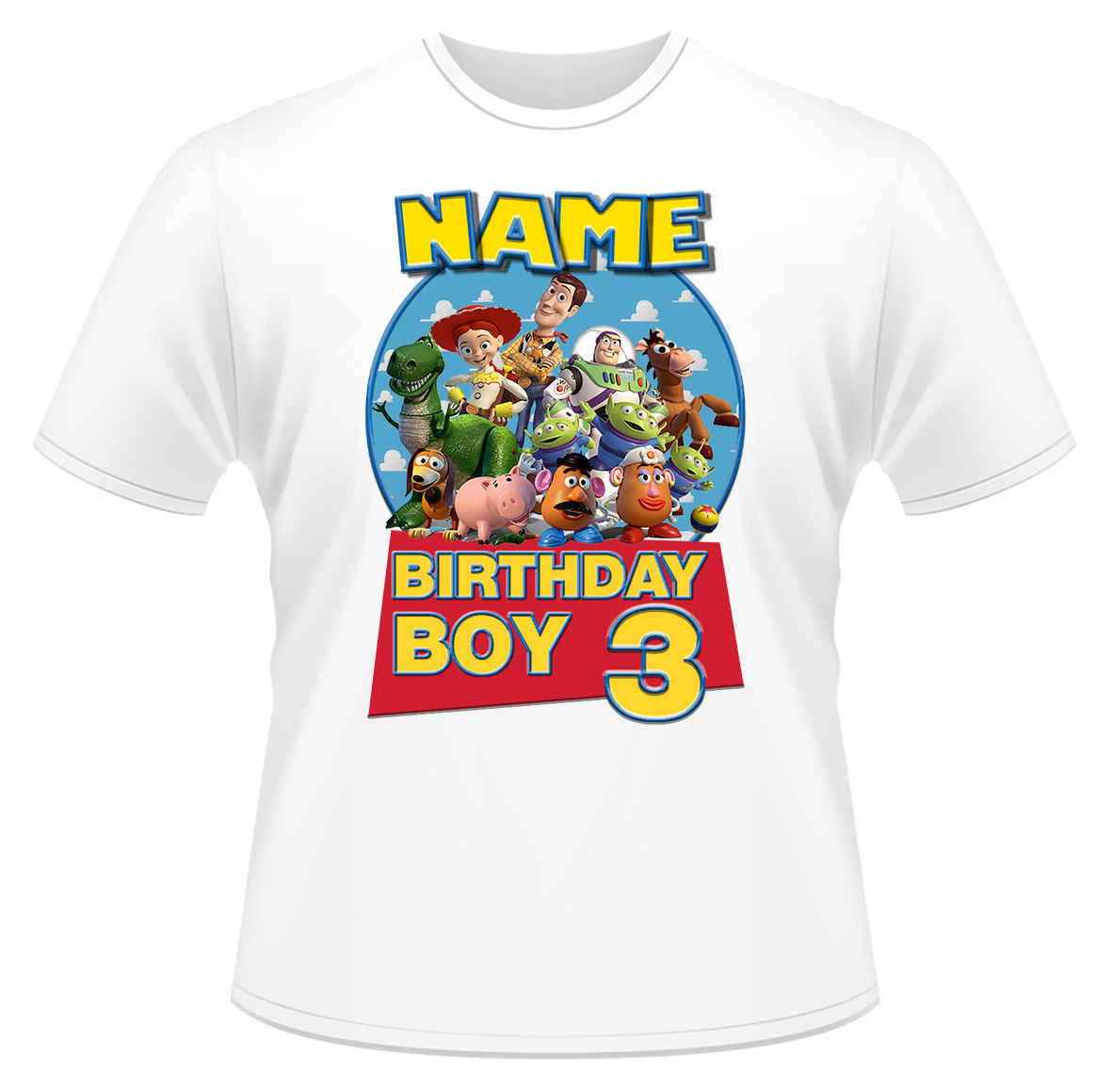d9f91afb ... Toy Story Birthday Personalised Boys Girls T-Shirt Age 3 Ideal Gift/ Present New ...
