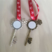 sublimation santa claus key christmas pendant with red snow rope hot transfer printing blank christmas gifts 15pcs/lot new style