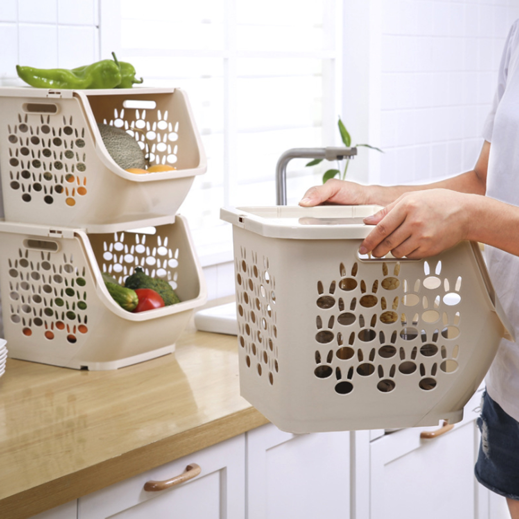 Hot Sale Kitchen Storage Basket Plastic Multi-functional Hollow Vegetables Fruit Racks with Cover Storage Basket for Organizers