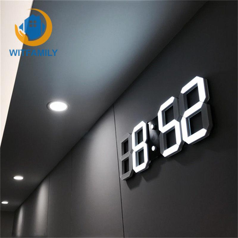 3D LED Alarm Clocks Display Home Kitchen Office Table Desk Modern Digital Wall Clock Night Wall Watch 24 Or 12 Hour Display image