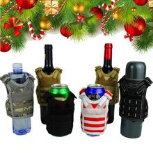 Militer Botol Bir Set Taktis Rompi Lapisan Mini Molle Rompi Berburu Botol Minum Set Adjustable Tali Bahu Berburu Tas(China)