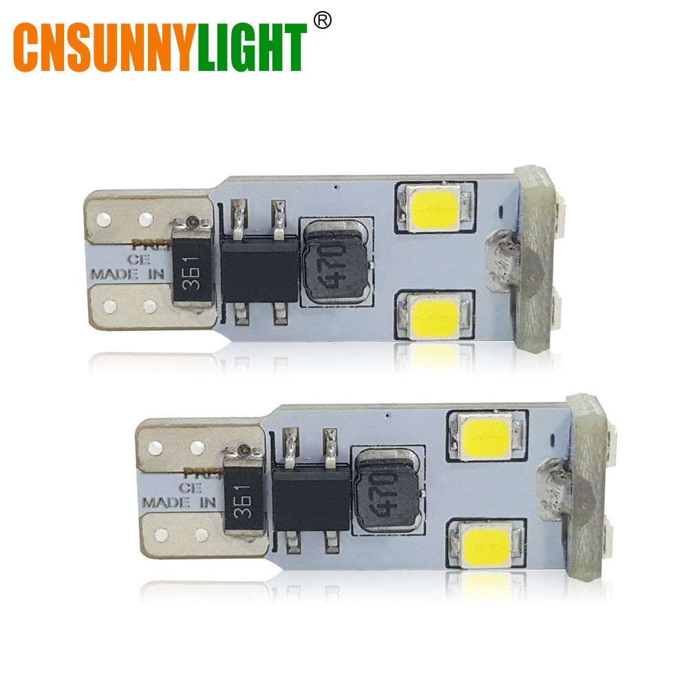 CNSUNNYLIGHT Super Bright T10 W5W LED Bulbs 194 168 2835 6SMD Canbus No Error 12V Car Auto Bulbs Indicator Light Parking Lamp 4pcs super bright t10 w5w 194 168 2825 6 smd 3030 white led canbus error free bulbs for car license plate lights white 12v