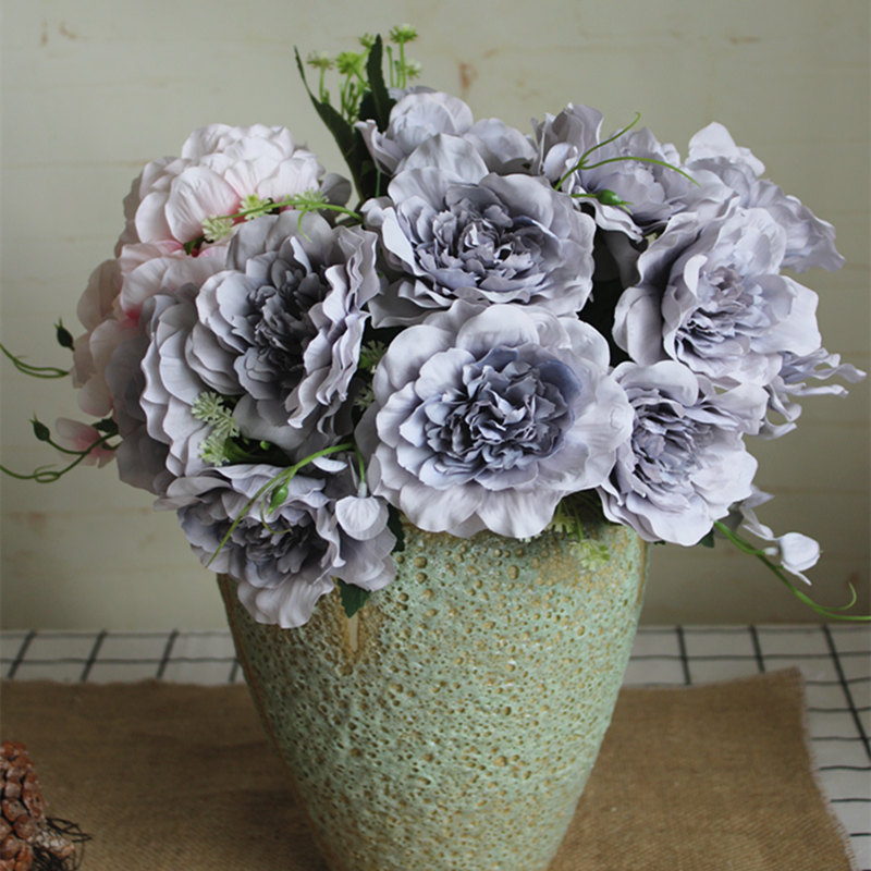 NEW special grey open roses bundle silk Artificial flowers for wedding decoration Xmas decor peonies flores artificiales-in Artificial & Dried Flowers from Home & Garden