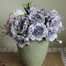 Nuevo paquete especial de rosas abiertas grises, flores artificiales de seda para decoración de boda, decoración de Navidad, peonias, flores artificiales