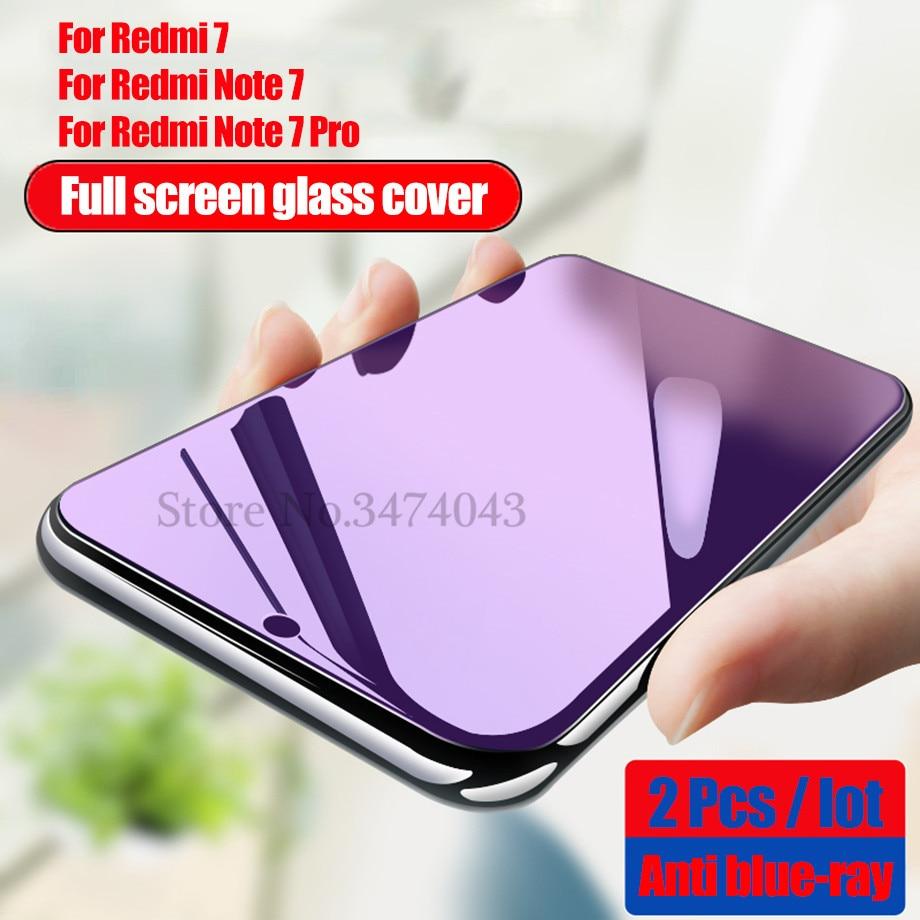 2Pcs Full Tempered Glass For Xiaomi Redmi Note 7 8 Pro Full Cover Screen Protective Protector Film For Redmi Note 8 7 Pro Glass