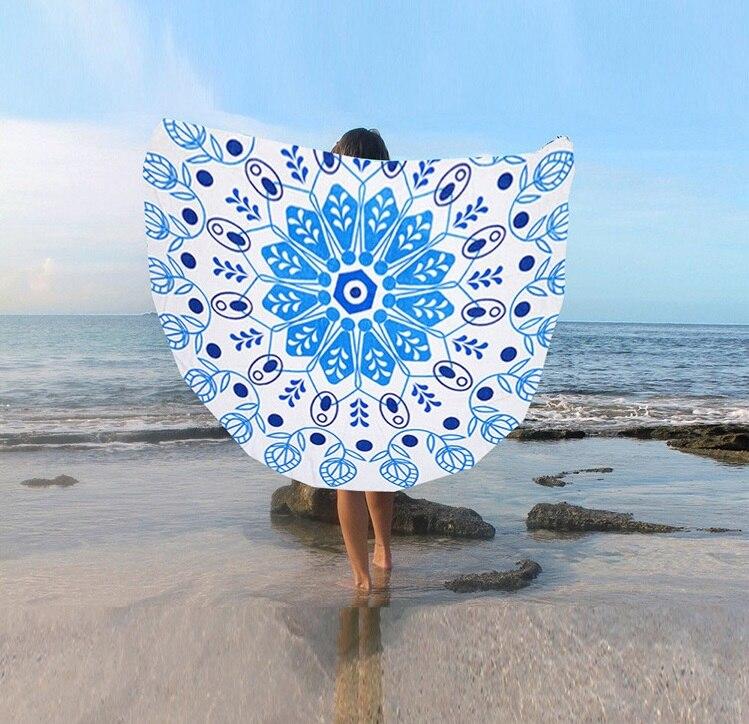 European And American Wind Sunshade Sun Protection Circular Beach Mat Multi-functional Printed Scarf Shawl St06-8